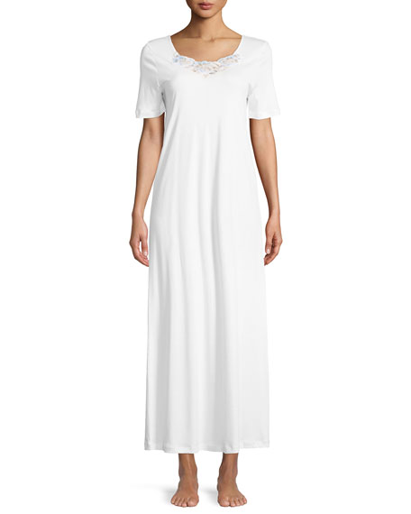 Hanro Jana Short-Sleeve Long Nightgown