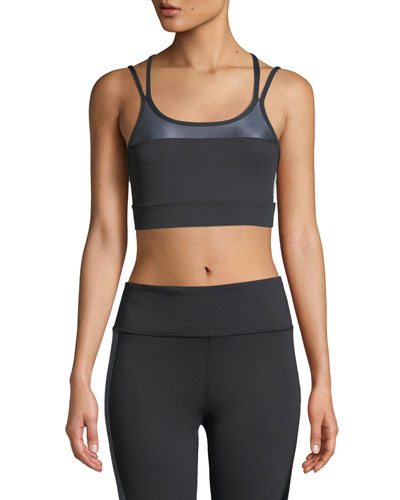 Block Double-Strap Mid-Impact Sports Bra