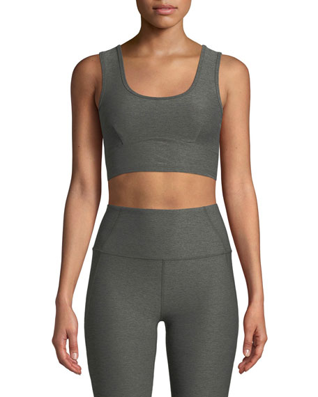 Carson Cutout Back Performance Crop Top in Purple
