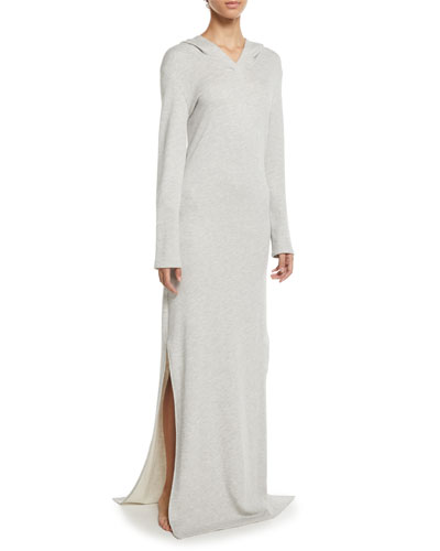 Long Hooded Terry Cloth Lounge Dress