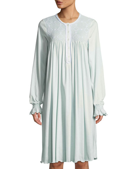 P Jamas Fernanda Long-Sleeve Cotton Short Nightgown