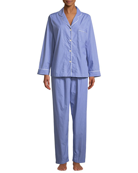 P JAMAS Contrast-Piping Two-Piece Pajama Set in Blue/White