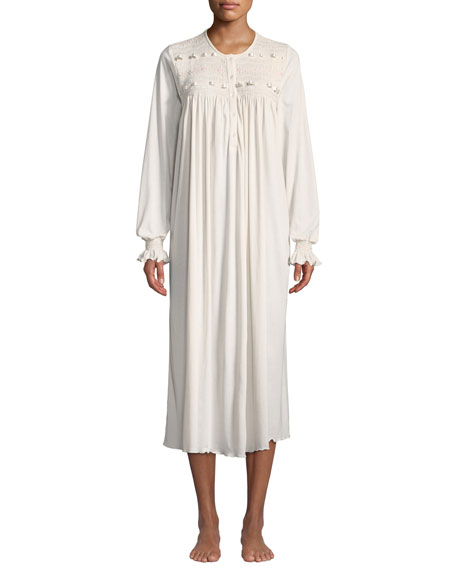 Manuela Long-Sleeve Long Nightgown in Light Pink