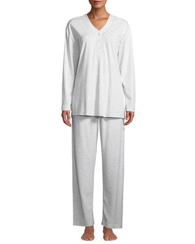 Heathered Butterknit Button-Placket Pajama Set