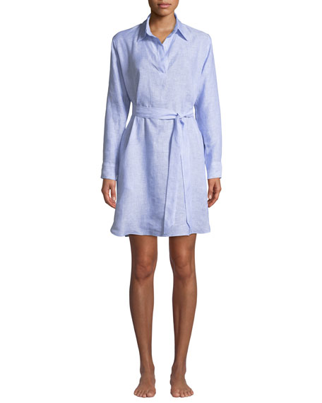 POUR LES FEMMES Linen Lounge Shirt Dress in Light Blue