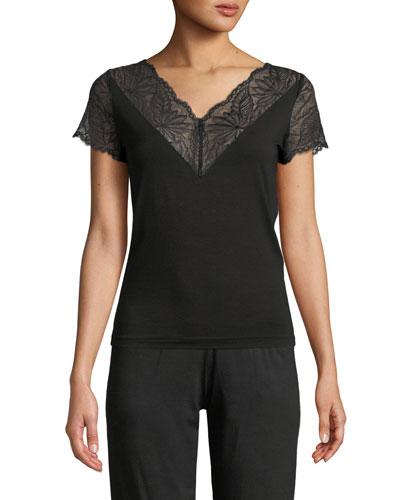 Poetic Botanicals Lace-Trim Lounge Shirt