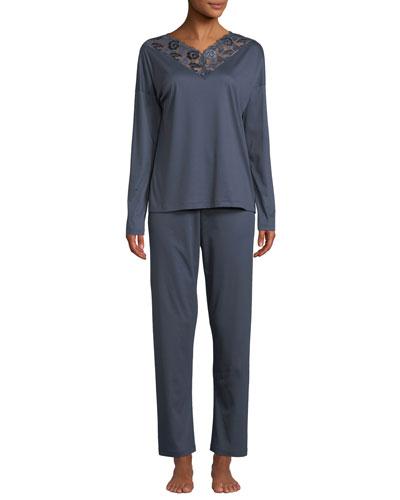 Sea Island Lace-Trim Pajama Set