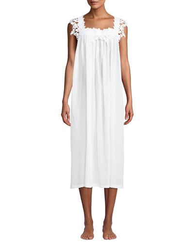 Princesa Floral-Applique Sleeveless Nightgown