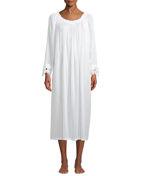 CELESTINE Princesa Floral-Applique Long-Sleeve Nightgown in White