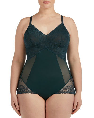 Lace-Inset V-Neck Bodysuit