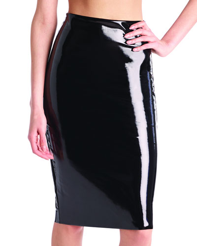Perfect Patent Faux-Leather Midi Skirt Shaper