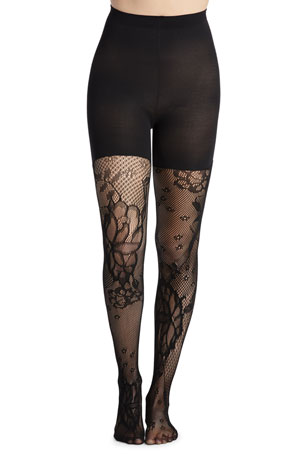 Spanx Fishnet Floral Mid-Thigh Shaping Tights