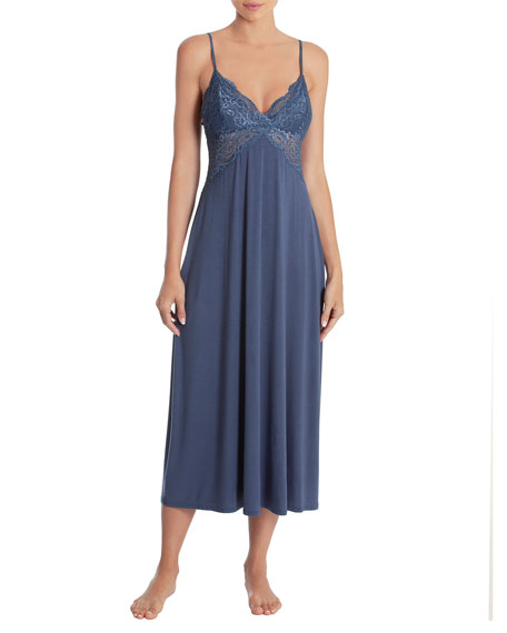 JONQUIL Lace-Trim Sleeveless Long Gown in Smoke Blue