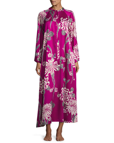 Aziome Floral-Print Zip Lounge Caftan, Plus Size