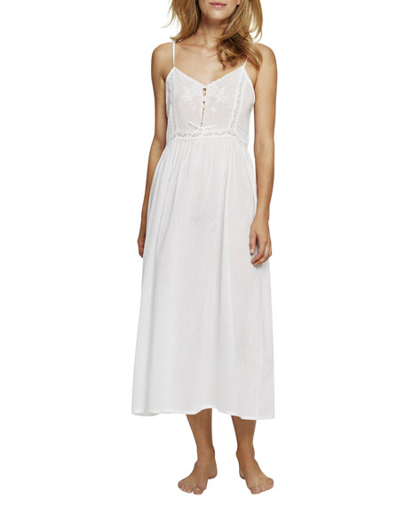 POUR LES FEMMES Lace-Inset Long Nightgown in White