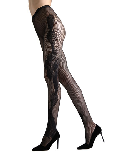 Peacock-Feather Fishnet Tights