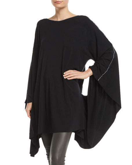 MADE ON GRAND Hand-Painted Cross Batwing-Arms Jersey Caftan in Black