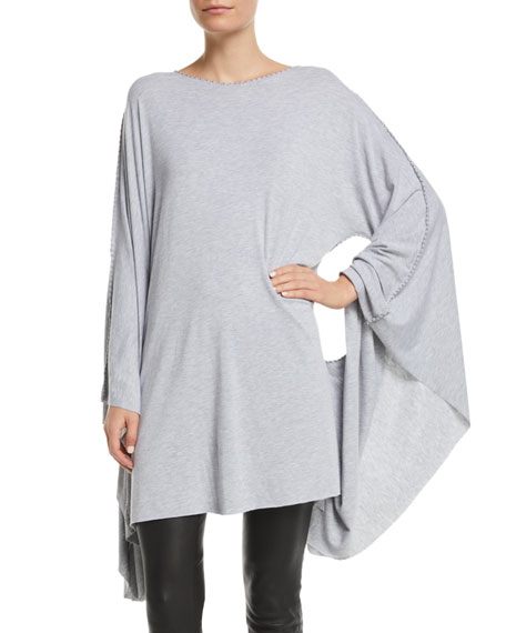 MADE ON GRAND Fleur-De-Lis Boat-Neck Batwing-Arms Jersey Caftan in Gray