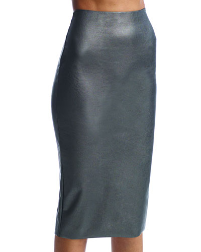 Perfect Faux-Leather Midi Skort Shaper