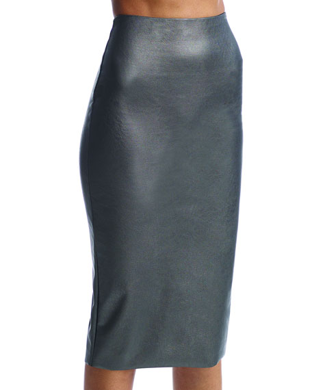 Commando Perfect Faux-Leather Midi Skort Shaper