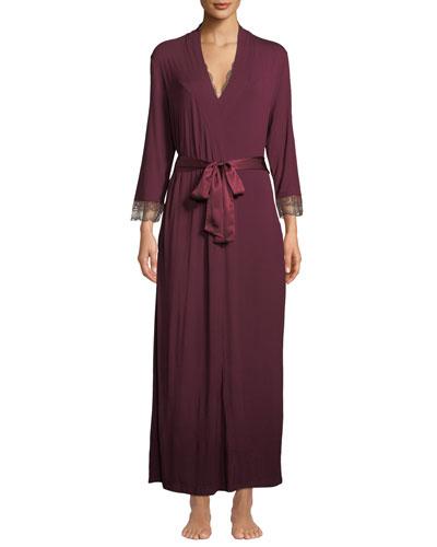 Modern Elegance Lace-Cuff Long Robe