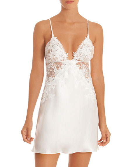 JONQUIL Sutton Lace Satin Chemise in Ivory