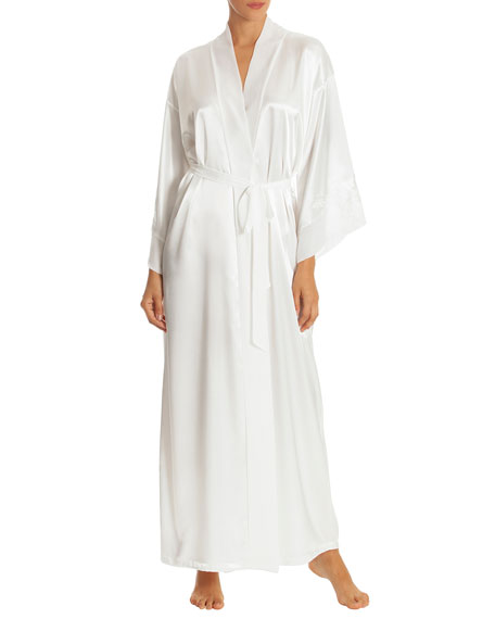 JONQUIL Sutton Long Satin Robe in Ivory
