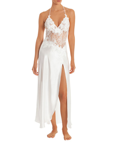 JONQUIL Sutton Lace Bodice Side Slit Satin Night Gown in Ivory