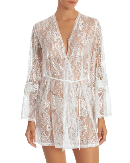 JONQUIL Sutton Short Lace Robe in Ivory