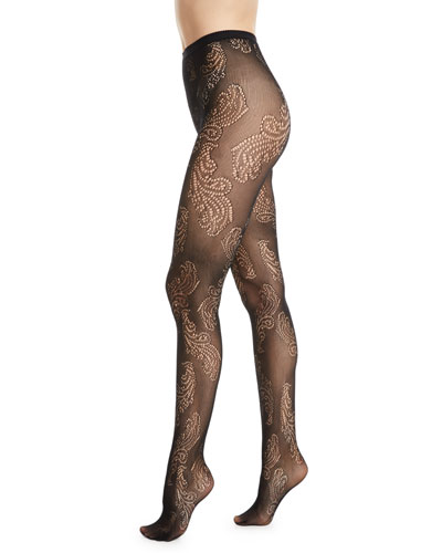 Sheer Feather Net Tights