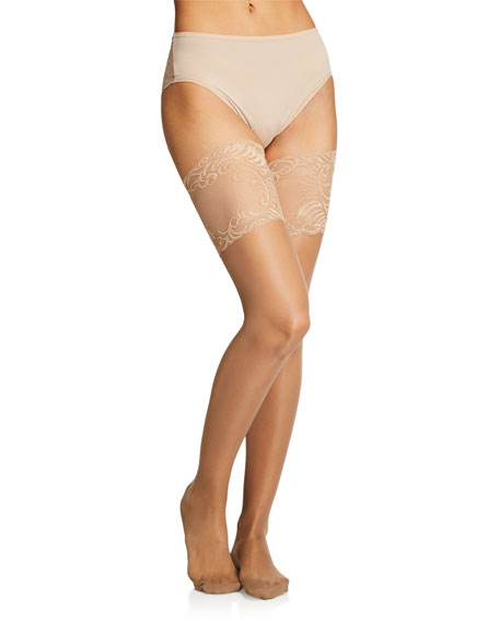 Natori Feathers Escape Back-Seam Thigh Highs Stockings