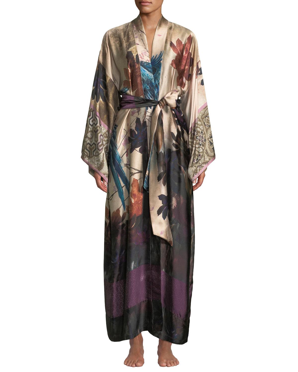 Christine Lingerie Phoenix Floral Long Silk Robe | Neiman ...