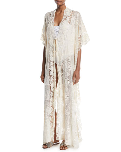 Valentina Tie-Front Tropical Scallop Lace Long Caftan