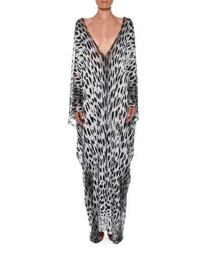 Long Panther-Print Open-Side Caftan