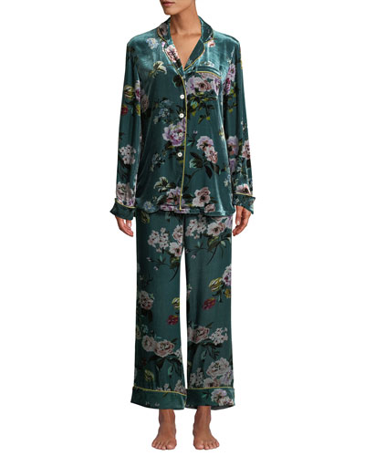 Lila Virginia Floral Velvet Classic Pajama Set