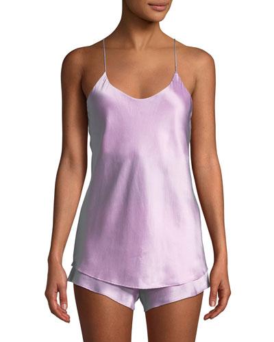 Bella Flamingo Silk Shortie Pajama Set