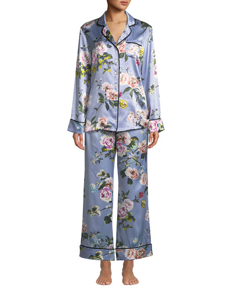 Olivia Von Halle Lila Agatha Floral Silk Classic Pajama Set