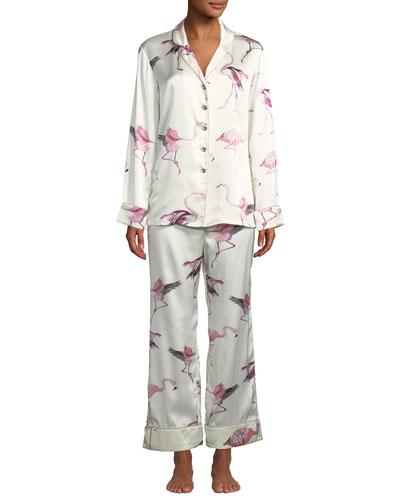 Lila Peregrine Flamingo Silk Classic Pajama Set