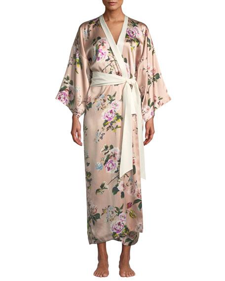 Olivia Von Halle Queenie Ariadne Floral Long Robe