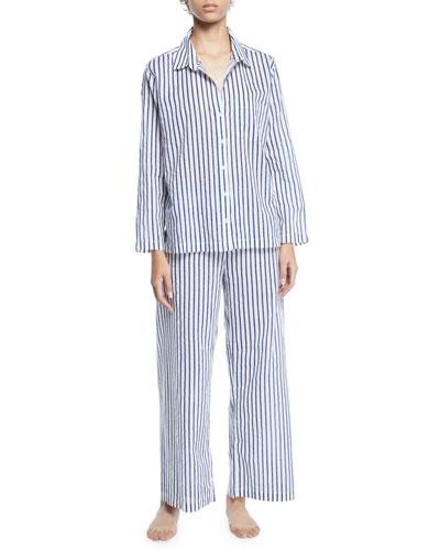 Striped Poplin Long Pajama Set