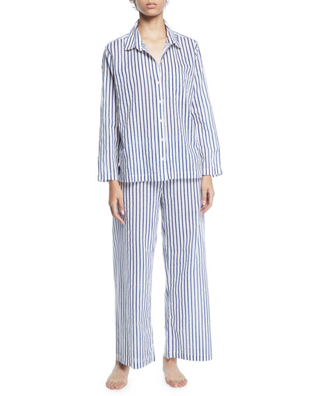 POUR LES FEMMES Striped Poplin Long Pajama Set in Blue/White
