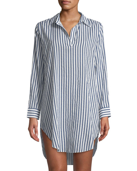 POUR LES FEMMES Poet Striped Poplin Sleepshirt in White/Blue