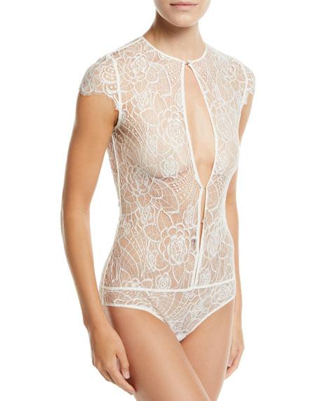 Coquette Floral-Lace Keyhole Bodysuit Bridal Lingerie in Ivory