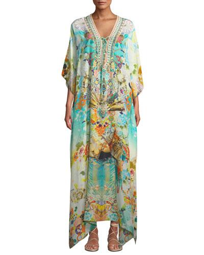 Printed Embellished Lace-Up Coverup Kaftan