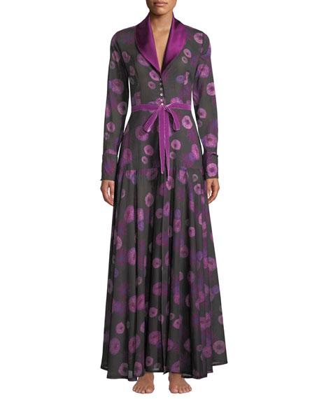 La Costa Del Algodon Dahlias Floral-Print Long Robe