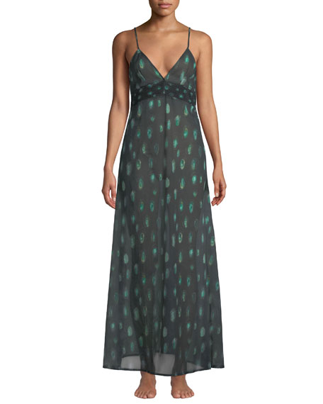 La Costa Del Algodon Cottons Peacock Feather-Print Nightgown
