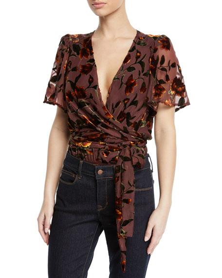 ASTR Veda Floral Velvet Wrap-Front Bodysuit in Golden Rust Floral