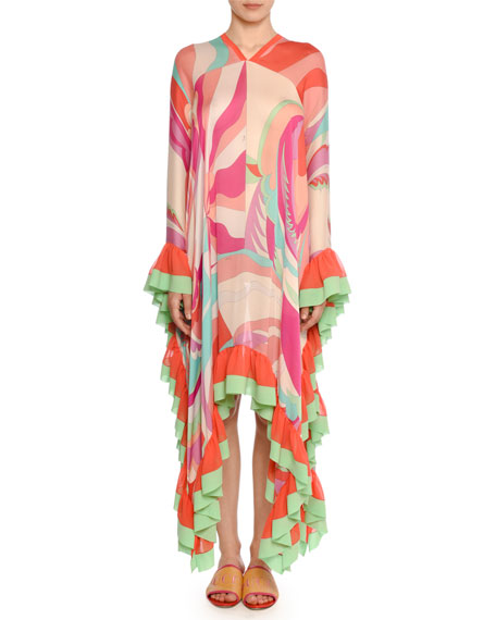 Ruffle-Trim Mixed-Print High-Low Caftan in Fuchsia