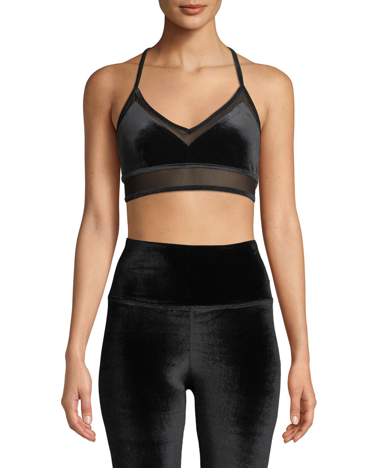 3dd7f88b96445 Alo Yoga Luxe Velour Sports Bra with Mesh Panels