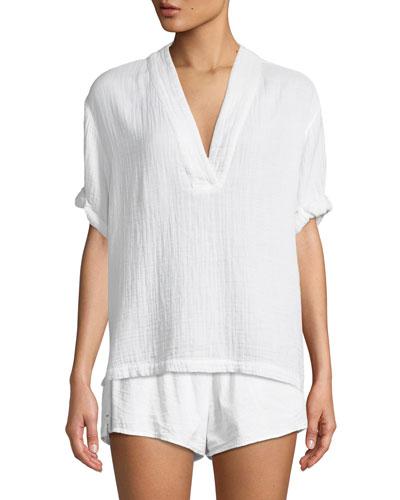 Avery Short-Sleeve Hammered Cotton Lounge Shirt